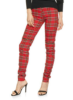 Plaid Moto Jeggings - 3407056571539