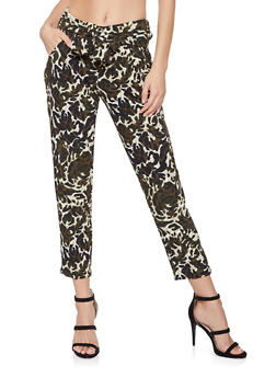 Tie Waist Cropped Printed Pants - 3407056572032
