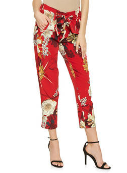 Floral Tie Front Dress Pants - 3407056572138