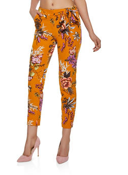 Floral Tie Side Dress Pants - 3407056572201