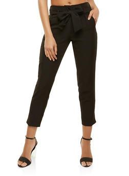 Tie Waist Dress Pants - 3407056572219