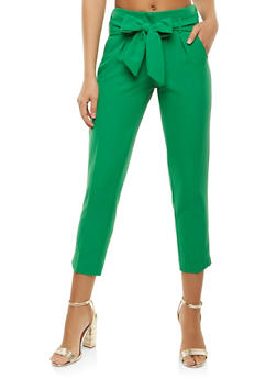 Tie Waist Dress Pants - 3407056572219