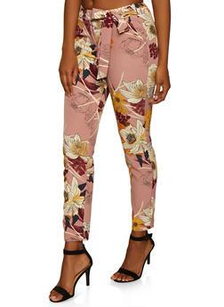Floral Tie Waist Dress Pants - 3407056573201