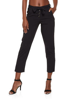 Belted Button Front Pants - 3407056573313