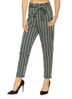Striped High Waisted Tie Front Pants - 3407056573368