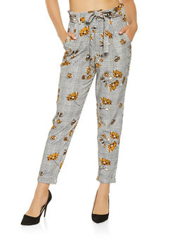 Plaid Floral Tie Waist Pants - 3407056574368