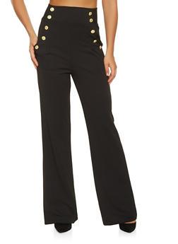 High Waisted Wide Leg Sailor Pants - 3407056574369