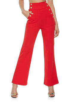 High Waisted Wide Leg Sailor Pants - 3407056574369