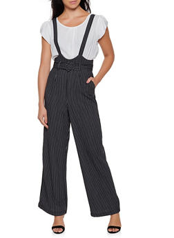 High Waisted Striped Suspender Pants - 3407056574403