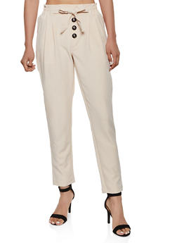 Tie Front Button Detail Dress Pants - 3407056574607