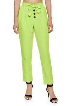 Tie Front Button Detail Dress Pants - 3407056574607