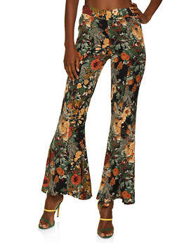Floral Flared Dress Pants - 3407056574623