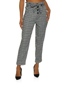 Plaid Paper Bag Waist Pants - 3407056574629