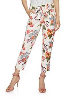 Floral Tie Front Pants - 3407056575219