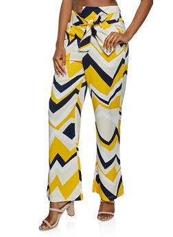 Chevron Tie Waist Pants - 3407056575554