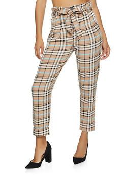 Plaid Paper Bag Waist Dress Pants - 3407056575629