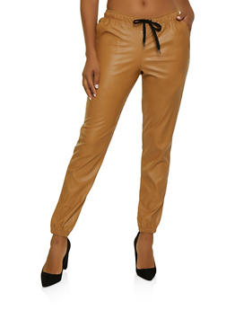 Faux Leather Joggers - 3407056576031