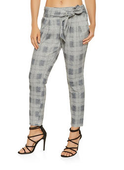 Plaid Tie Front Dress Pants - 3407056577552