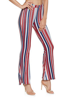 Striped Soft Knit Flared Pants - 3407061355011