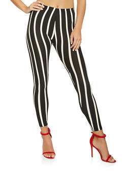 Striped Soft Knit Leggings - 3407063401398