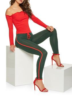Side Stripe Leggings - 3407066491218