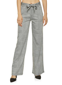 Tie Waist Plaid Pants - 3407068190030