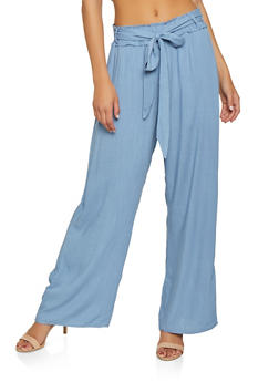 Solid Wide Leg Palazzo Pants - 3407068192227
