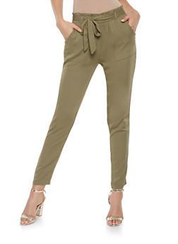 Paper Bag Waist Pants - 3407068193087