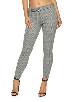 Belted Plaid Dress Pants - 3407068193844