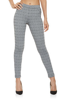 Plaid Knit Dress Pants - 3407068193858