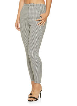 Houndstooth High Waisted Dress Pants - 3407068193927