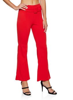 Crepe Knit Belted Dress Pants - 3407068511708