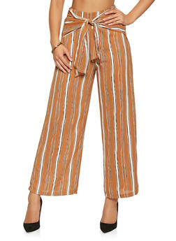 Striped Tie Front Palazzo Pants - 3407069390465
