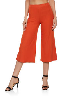 Rib Knit Gaucho Pants - 3407069390837