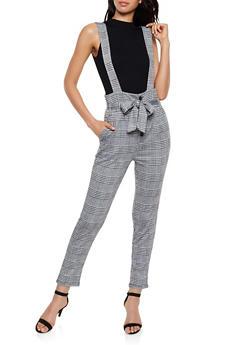 Plaid Button Front Suspender Pants - 3407069390960