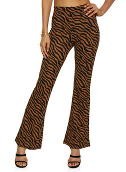 Zebra Print Crepe Knit Flared Pants - 3407069392727