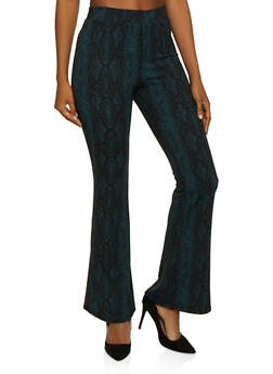 Snake Print Crepe Knit Flared Pants - 3407069392828