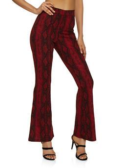 Snake Print Crepe Knit Flared Pants - 3407069392828