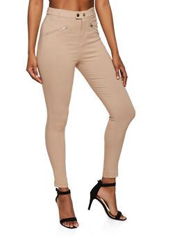 Zip Detail Twill Pants - 3407069393012