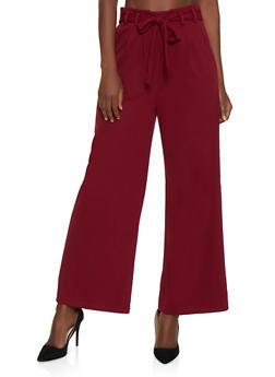 Wide Leg Tie Waist Pants - 3407069393063