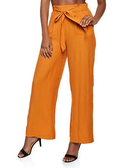 Lightweight Tie Front Palazzo Pants - 3407069393071