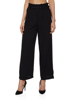 Belted Paper Bag Waist Palazzo Pants - 3407069393079