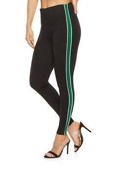 Side Stripe Pull On Ponte Pants - 3407069395092