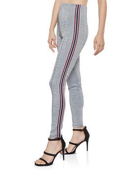 Striped Tape Detail Plaid Pants - 3407069395096