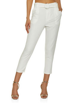 Belted Front Dress Pants - 3407069395229
