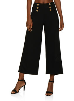 Crepe Knit Gaucho Pants - 3407069395230