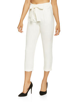 Cropped Tie Waist Dress Pants - 3407069396987
