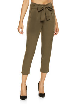 Cropped Tie Waist Dress Pants - 3407069396987