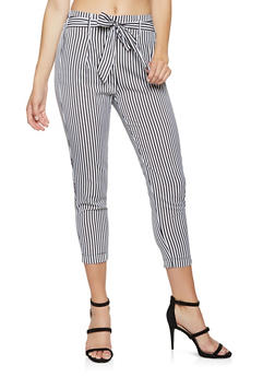Striped Tie Front Pants - 3407069397239