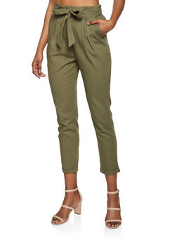 Tie Front Linen Trousers - 3407069397354